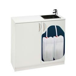 mobile per cabina beauty con lavabo e taniche